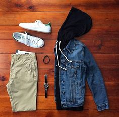 Casual Grid by @chrismehan Follow @stylishgridgame www.StylishGridGame.com Brands ⤵ Jacket: @levis Hoodie: @americanmadesupplyco Chinos: @grayers Trainers: @adidasoriginals Watch: @hamiltonwatch Bracelet: @bryerleather
