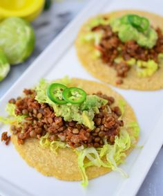 The perfect vegetarian swap for ground beef- Lentil Tacos! Same amount of protein, 1/2 the fat and zero cholesterol.