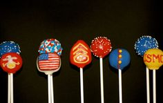 Marine Corp inspired cake pops by Lolapops1016 on Etsy