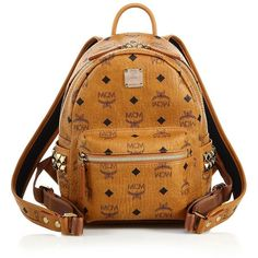 MCM Stark Side Stud Mini Coated Canvas Backpack ($695) ❤ liked on Polyvore featuring bags, backpacks, apparel & accessories, cognac, brown bag, studded bag, mini bag, mini rucksack and top handle bags