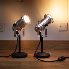 Retro Theatre Mini Table / Bedside Lamps - Polished