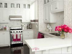 White & pink kitchen.