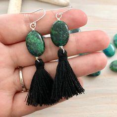 Green Tassel Earrings, Boho Earrings, Statement Earrings, Drop Earrings, Jewelry Design, Unique Jewelry, Stone Earrings, Tassels, Trending Outfits