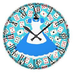 Shop Wonderland Alice Pattern Large Clock created by Cafe_Parchment. Alice In Wonderland Printables, Alice In Wonderland Cartoon, Alice In Wonderland Garden, Alice In Wonderland Decorations, Alice In Wonderland Tea Party, Alicia Wonderland, Alice Book, Alice Tea Party, Mad Hatter Party