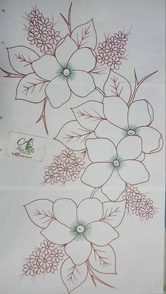Trendy Ideas For Embroidery Patterns Ideas Fabrics Embroidery Flowers Pattern, Hand Embroidery Stitches, Hand Embroidery Designs, Ribbon Embroidery, Embroidery Art, Machine Embroidery, Pattern Flower, Painting Patterns, Fabric Painting