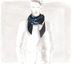 Carrè Hermès Imprimeur Fou Brides et Frontaux - Foulard da uomo Autunno/Inverno 2015/2016: modello in seta e cachemire sui toni del blu