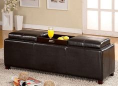 Extra Large Ottoman From Fine Leather With Storage