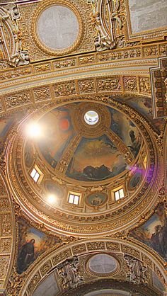 Ceiling at Monte Cassino Abbey, Ciociaria, Italy