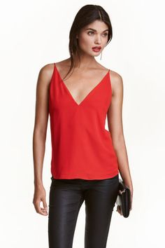 Top à encolure en V - Rouge - FEMME   H&M BE 1