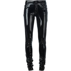 Anthony Vaccarello Vinyl Skinny Trousers ($1,040) ❤ liked on Polyvore featuring pants, capris, black, anthony vaccarello, skinny trousers, skinny pants and vinyl pants