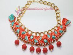 Manualidades Faciles: Como hacer un collar tejido con cadenas y abalorios | DIY Chain and Yarn Necklace