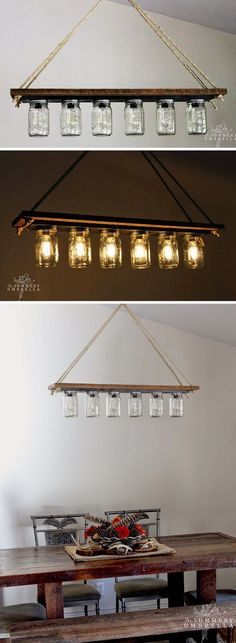 Check out this easy idea on how to make a #DIY #masonjar chandelier for #rustic #homedecor on a #budget @istandarddesign