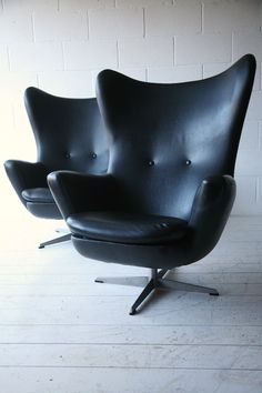 1960s Black Vinyl Swivel Chairs 1