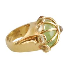 Green Tourmaline and Cabachon Citrine Cage Ring  USA  Contemporary