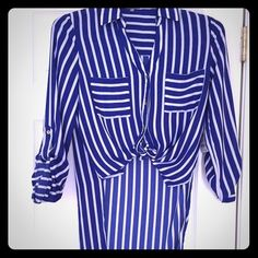 Striped shirt Charlotte russe nwt Striped royal blue and white shirt- very casual looks great with shorts!! Charlotte Russe Tops Button Down Shirts