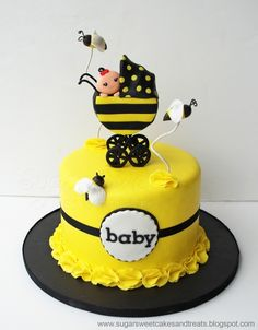 adorable Bumble Bee Baby Shower Cake. Could make w/o stroller... Love the border