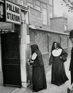 Nuns arrive at a polling station in 1959. vintage everyday: Historic Photos of Women Voting Throughout the Years