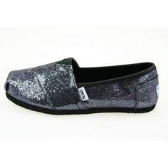 Black sparkly toms shoes