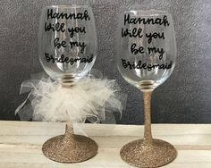 Personalised Bridesmaid Proposal Wine Glass  Will You Be My