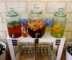 Three Dispenser Station Drinks Table Engagement Party Jaymi Dispensers Fleur