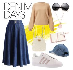 """""""Denim Skirt"""" by pramesvvari on Polyvore featuring Gucci, Chicwish, Miss Selfridge, adidas, FOSSIL, Nine West, Royce Leather and denimskirts"""