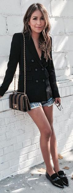 #sincerelyjules #spring #summer #besties |Black Blazer + Short Shorts + Pointy Flats