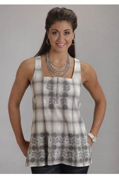 Heather Ombre Lawn Sles Top Stetson Ladies Collection- Spring Ii Sleeveless Urban Western Wear - $74.95