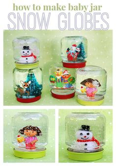 DIY mimi snow globes made from recycled baby food jars. Or reuse larger jars to make bigger scenes for lots or winter/holiday fun! Kids Crafts, Baby Food Jar Crafts, Mason Jar Crafts, Crafts To Do, Kids Holiday Crafts, Preschool Christmas Crafts, Spring Crafts, Mason Jars, Snow Globe For Kids