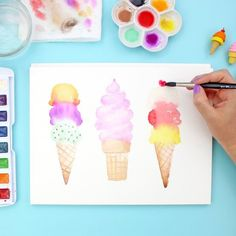 Learn how to paint watercolor ice cream . Learn how to paint watercolor ice cream . Learn how to paint watercolor ice cream cones - such a great watercolor projec Beginning Watercolor, Kids Watercolor, Watercolor Projects, Watercolour Tutorials, Watercolor Cards, How To Paint Watercolor, Watercolour Step By Step, Watercolor Artists, Painting Tutorials