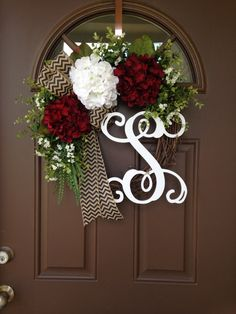 Picture#4 shows script alphabet (12) Picture #5 shows curly alphabet ( 8)  This lovely wreath will make a wonderful addition to your home decor or a thoughtful gift for a special person or occasion Beautiful wreath with 3 hydrangea blossoms ; white in the middle and 2 burgundy on each side , surrounded with greenery ,accented with white tiny baby breath flowers and beautiful burlap bow- chevron black with tan .Made on 18 grapevine wreath base, finished product measures approximately 20-21…