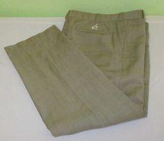 Men's Staff Issue Elevee Pleated  Golf  Pants Size 34 x 29 - Beige - Wool #Elevee #DressPleat