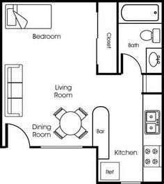 Apartments Efficiency Floor Plan | Floorplans | Pinterest | Studio ...