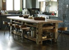 Photoset #5414 - Table built with Hand-Hewn Timbers and Reclaimed Sleeper Middles for Top - Sundance, Utah Trestlewood Reclaimed Love this Island (and the stools)