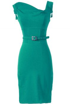 Belted Pencil Dress in Teal