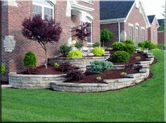 Flower bed with a stone lining on an angled yard.