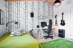 I love this wall covering. I almost used it once on a project. Kids Bedroom, Bedroom Decor, Workplace Design, Beautiful Interiors, Design Elements, Design Inspiration, Projects, Tree Wallpaper, Musical