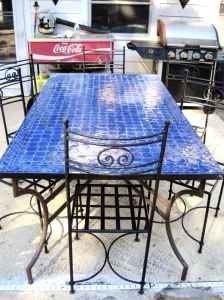 Patio Indoor/outdoor Furniture Table Blue Ceramic Tile And Steel   $350  (Mount Dora