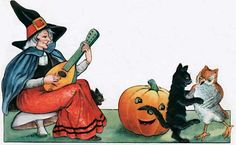 Witch Playing Music for Dancing Cats | Halloween Art Prints