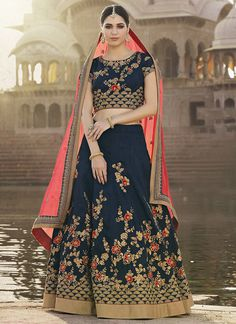 Blue and Pink Embroidered Silk Lehenga
