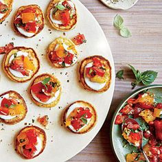 Mini Cornmeal Cakes with Heirloom Tomato Relish | CookingLight.com