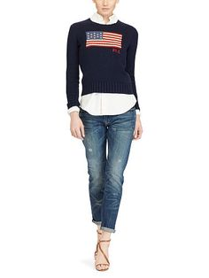 Flag Cotton Crewneck Sweater - Polo Ralph Lauren Scoop, Crew & Boatnecks - RalphLauren.com