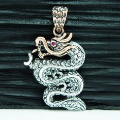 5729eace6 COPPER HEAD JAPANESE DRAGON SMALL 925 STERLING SILVER PENDANT sa-056s  Japanese Dragon, Sterling