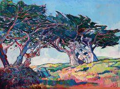 Pebble Beach cypress tree landscape painting by Erin Hanson