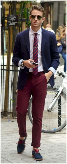 Red pants are perfect for showing off your style.