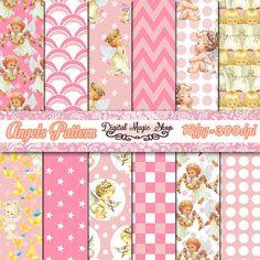 Angels Digital Paper Pack Baby Pink Seamless by DigitalMagicShop