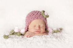 Baby Girl Hat Newborn Baby Girl Crochet Hat in Dusty by EcoStreet, $45.50