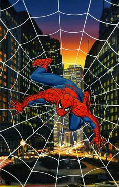 Spider-Man Painted Cover by Bob Larkin, in Laurent Vandomme's Colours Comic Art Gallery Room Marvel Comics Superheroes, Marvel Art, Marvel Heroes, Marvel Avengers, Ms Marvel, Captain Marvel, Spiderman Kunst, All Spiderman, Amazing Spiderman