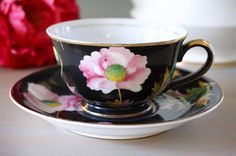 Black Japan Tea Cup and Saucer, Hand Painted Japanese Teacup Set, Occupied Japan Tea Set, Pink Flowers, Mid-century,  Made in Japan, 1940s
