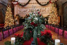 The Gilded Age arrangements—with an English Garden twist—seen today in the Biltmore House's banquet hall and throughout the house require large amounts of foliage, including prunings from azalea bushes with twisted branches with lichen in them | Photo: Courtesy of Biltmore House