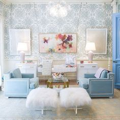 nursery decor | baby gifts lucite crib and mongolian lamb stools | bubble chandelier | blue print | blueprintstore.com